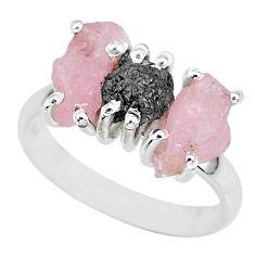 925 silver 9.37cts natural diamond rough rose quartz raw ring size 8 r92128