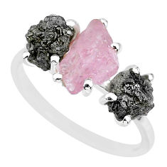 925 silver 7.66cts natural diamond rough rose quartz rough ring size 9 r92198