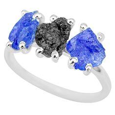 925 silver 6.64cts natural diamond rough tanzanite raw ring size 7 r92120