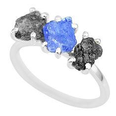 925 silver 7.17cts natural diamond rough tanzanite raw ring size 7 r92144