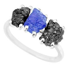 925 silver 7.17cts natural diamond rough tanzanite raw ring size 7 r92195