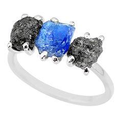 925 silver 7.66cts natural diamond rough tanzanite raw ring size 8 r92156