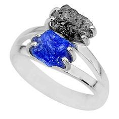 925 silver 6.70cts natural diamond rough tanzanite raw ring size 8 r92208