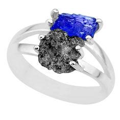 925 silver 6.22cts natural diamond rough tanzanite rough ring size 8 r92300