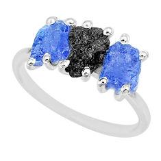 925 silver 7.17cts natural diamond rough tanzanite raw ring size 9 r92110