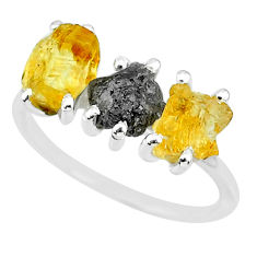 925 silver 7.17cts natural diamond rough yellow citrine raw ring size 7 r92107