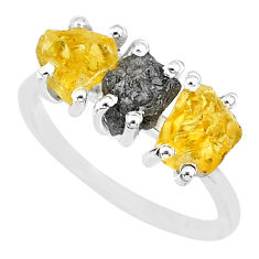 925 silver 7.17cts natural diamond rough yellow citrine raw ring size 8 r92096
