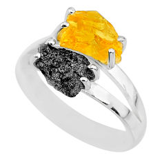 925 silver 6.39cts natural diamond rough yellow citrine rough ring size 9 r92237