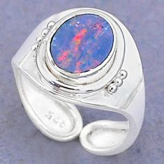 925 silver 2.31cts natural doublet opal australian adjustable ring size 5 t8700