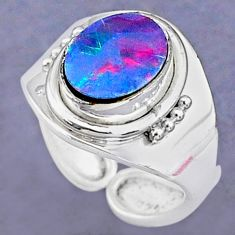 925 silver 2.60cts natural doublet opal australian adjustable ring size 5 t8705
