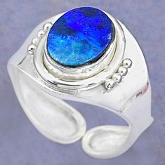 925 silver 2.68cts natural doublet opal australian adjustable ring size 5 t8708