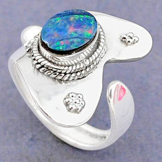 925 silver 1.81cts natural doublet opal australian adjustable ring size 6 t8684
