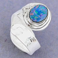 925 silver 2.05cts natural doublet opal australian adjustable ring size 6 t8688