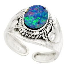 925 silver 3.22cts natural doublet opal australian adjustable ring size 8 r49727