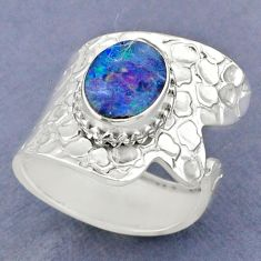 925 silver 3.84cts natural doublet opal australian adjustable ring size 8 r63409
