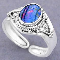925 silver 2.42cts natural doublet opal australian adjustable ring size 8 t8720