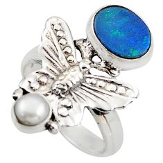 925 silver 4.02cts natural doublet opal australian butterfly ring size 7 d46094