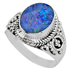 925 silver 3.12cts natural doublet opal australian solitaire ring size 6 r53324