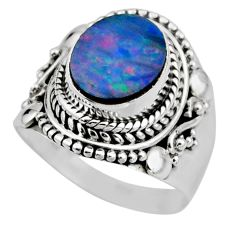 925 silver 3.69cts natural doublet opal australian solitaire ring size 6 r53326
