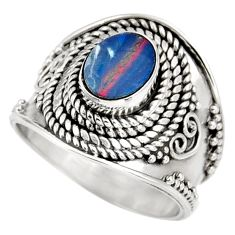 925 silver 1.46cts natural doublet opal australian solitaire ring size 7 d39014