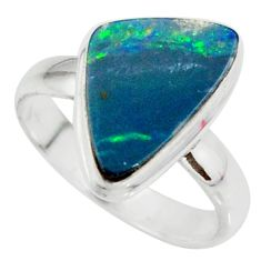 925 silver 4.84cts natural doublet opal australian solitaire ring size 7 r39249
