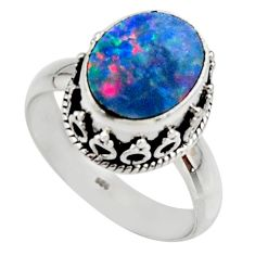 925 silver 4.19cts natural doublet opal australian solitaire ring size 7 r48407