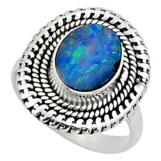 925 silver 3.58cts natural doublet opal australian solitaire ring size 7 r52472