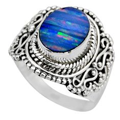 925 silver 3.75cts natural doublet opal australian solitaire ring size 7 r53331