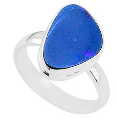 925 silver 4.38cts natural doublet opal australian solitaire ring size 7 t4216