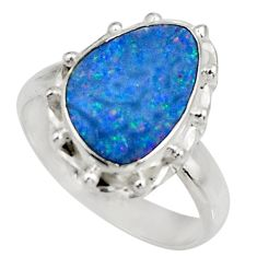 925 silver 4.92cts natural doublet opal australian solitaire ring size 8 d39039