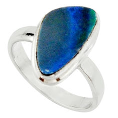 925 silver 5.11cts natural doublet opal australian solitaire ring size 8 r22776