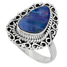 925 silver 3.76cts natural doublet opal australian solitaire ring size 8 r47311