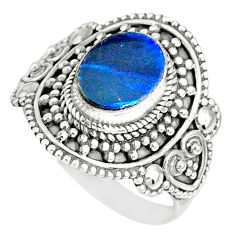 925 silver 2.56cts natural doublet opal australian solitaire ring size 8 r77456