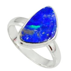 925 silver 5.10cts natural doublet opal australian solitaire ring size 9 r39260
