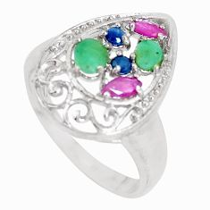 925 silver natural green emerald ruby sapphire white topaz ring size 8.5 c17946