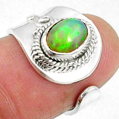 925 silver 1.80cts natural ethiopian opal adjustable ring jewelry size 5 r65553