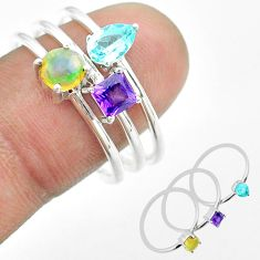 925 silver 3.28cts natural ethiopian opal amethyst topaz 3 rings size 9 t51104