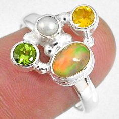 925 silver 3.82cts natural ethiopian opal citrine pearl ring size 8 r59189