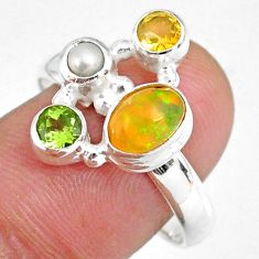 925 silver 4.02cts natural ethiopian opal citrine pearl ring size 8 r59235