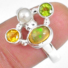 925 silver 3.82cts natural ethiopian opal citrine pearl ring size 9 r59187
