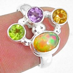925 silver 4.02cts natural ethiopian opal citrine peridot ring size 6.5 r59197