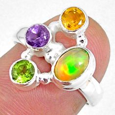 925 silver 4.03cts natural ethiopian opal citrine peridot ring size 6 r59233