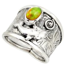 925 silver 0.88cts natural ethiopian opal fish solitaire fish ring size 7 d45891