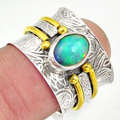 925 silver 2.36cts natural ethiopian opal gold solitaire ring size 6.5 d46455