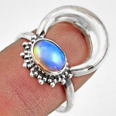 925 silver 2.09cts natural ethiopian opal half moon ring jewelry size 8.5 r41640