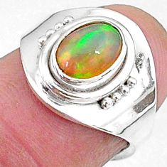 925 silver 2.15cts natural ethiopian opal oval adjustable ring size 5 t8537