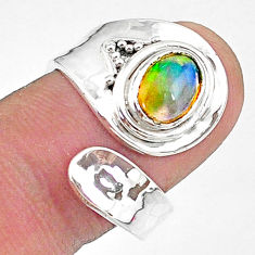 925 silver 1.81cts natural ethiopian opal oval adjustable ring size 6.5 t8546