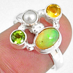 925 silver 3.61cts natural ethiopian opal oval citrine pearl ring size 7 r59190
