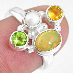 925 silver 3.83cts natural ethiopian opal oval citrine pearl ring size 7 r59219