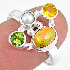 925 silver 3.82cts natural ethiopian opal oval citrine pearl ring size 8 r59184
